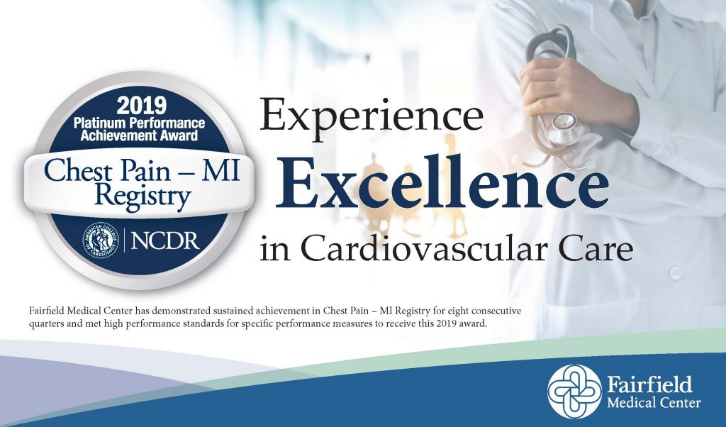Chest Pain - MI Registry Logo with Experience the Excellence in Cardiovascular Care Text, backed by photo of folded arms holding stethoscope