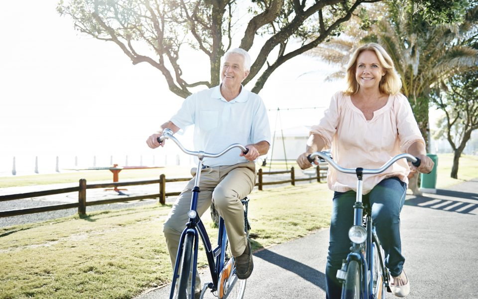 Active seniors on bicycles