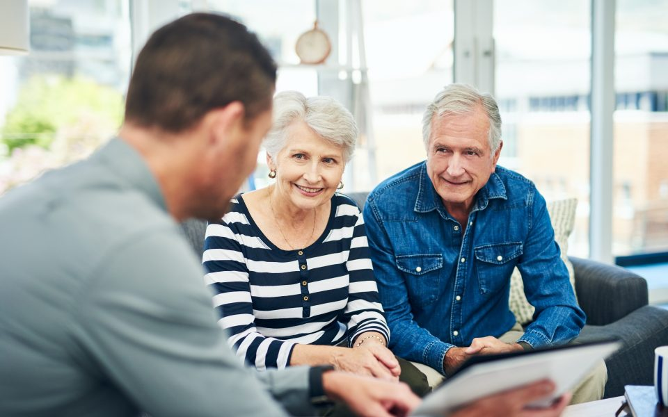 senior couple having a consultation with a financial advisor