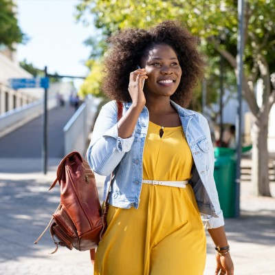 African American woman talking on phone