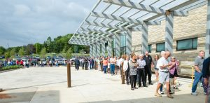 people waiting to enter the new river valley campus