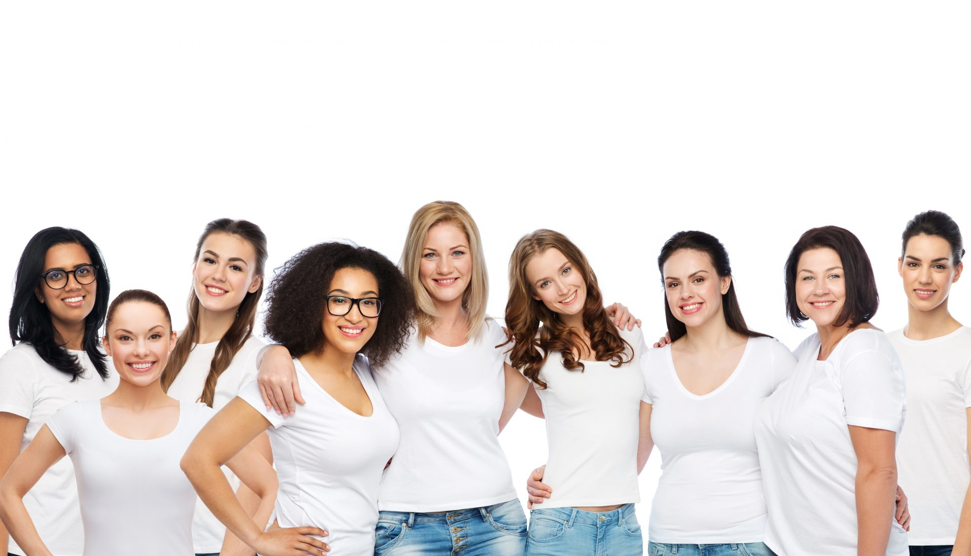 Diverse women in white shirts