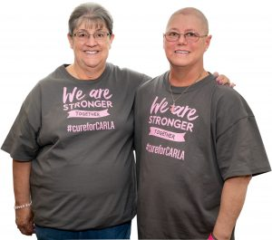 Breast cancer survivor Carla with sister Charlotte